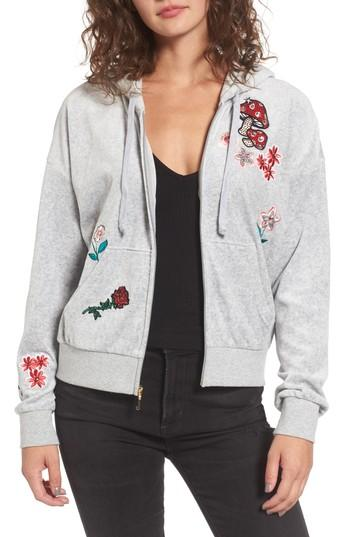 Juicy Couture Sunset Velour Track Zip Hoodie In Silver Lining