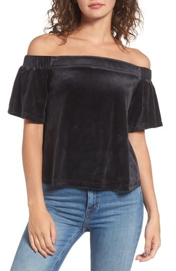 Juicy Couture Velour Off The Shoulder Top In Pitch Black