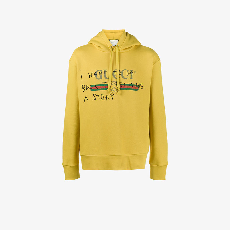 d0fa5878a Gucci Fake Logo Coco Capitan Hooded Sweatshirt In Yellow   Orange ...