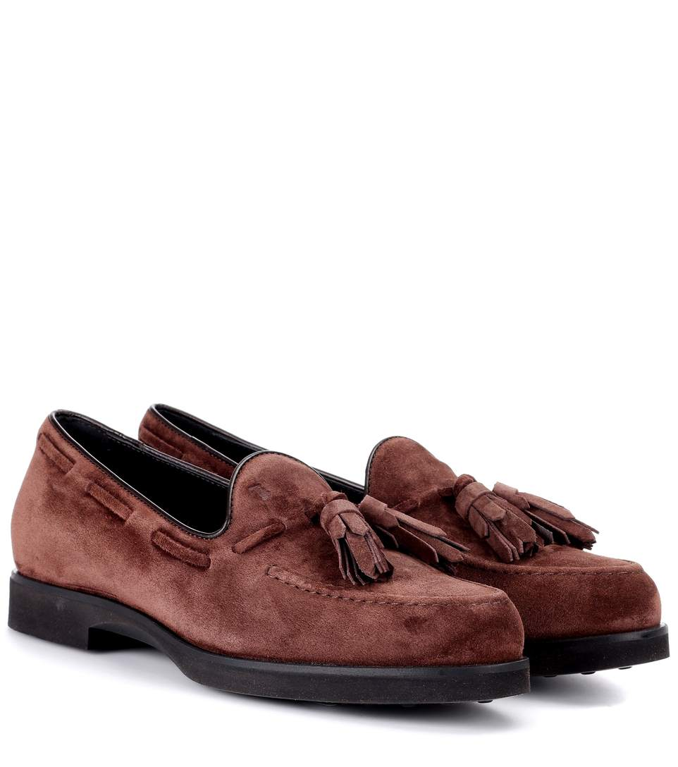 Tod's Suede Loafers In Lrowe