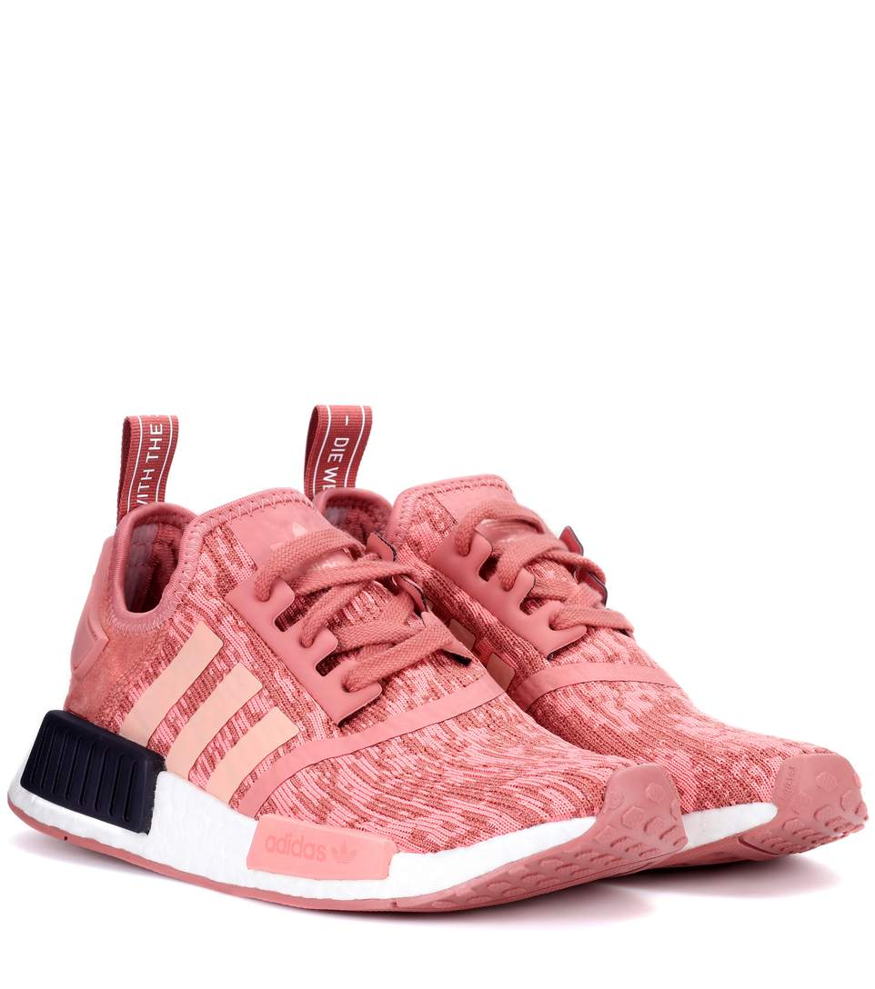 Nmd R1 Suede Paneled Primeknit Sneakers in Rose