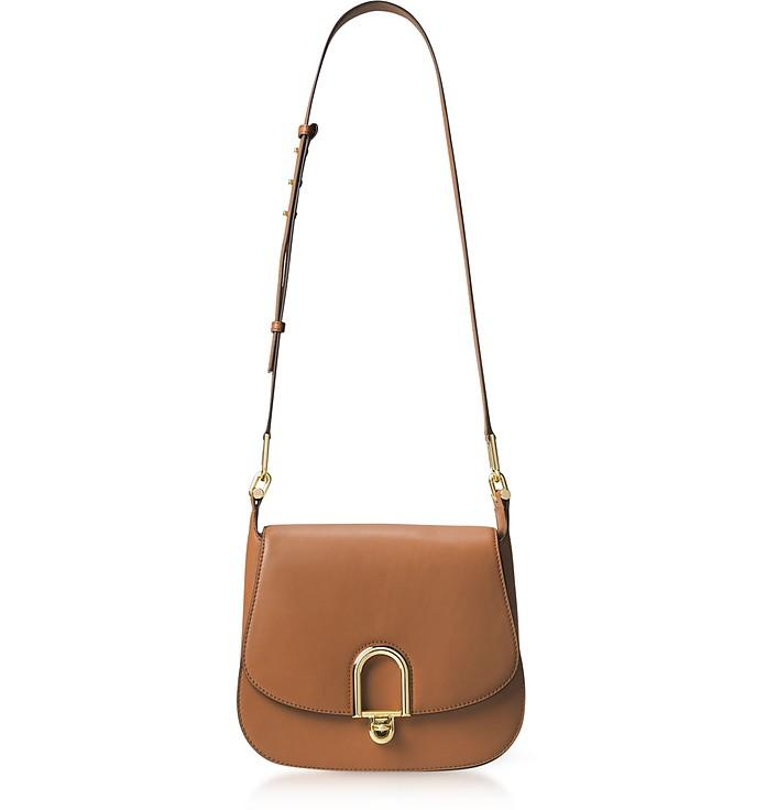Michael Kors Delfina Large Acorn Leather Saddle Bag