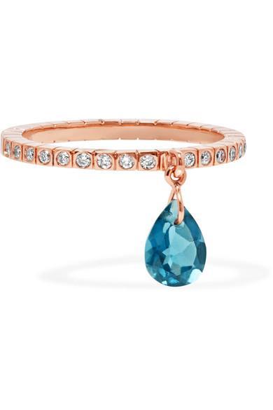 Diane Kordas 18-karat Rose Gold, Topaz And Diamond Ring In 18kt Rose Gold