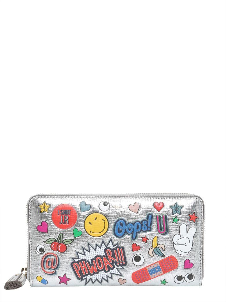 Anya Hindmarch All Over Wink Sticker Large Zip-around Wallet, Silver/multi In Argento
