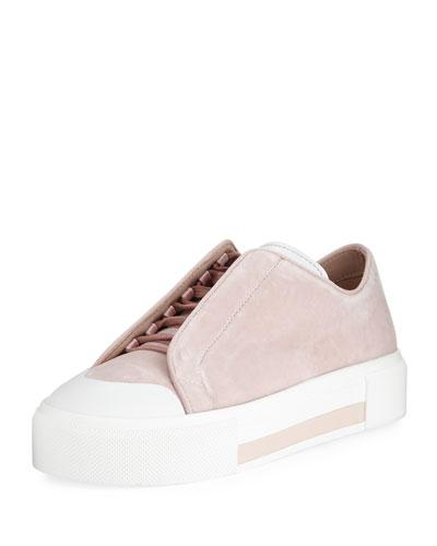 Alexander Mcqueen Suede Concealed Lace-up Low-top Platform Sneaker In Rose/ivory