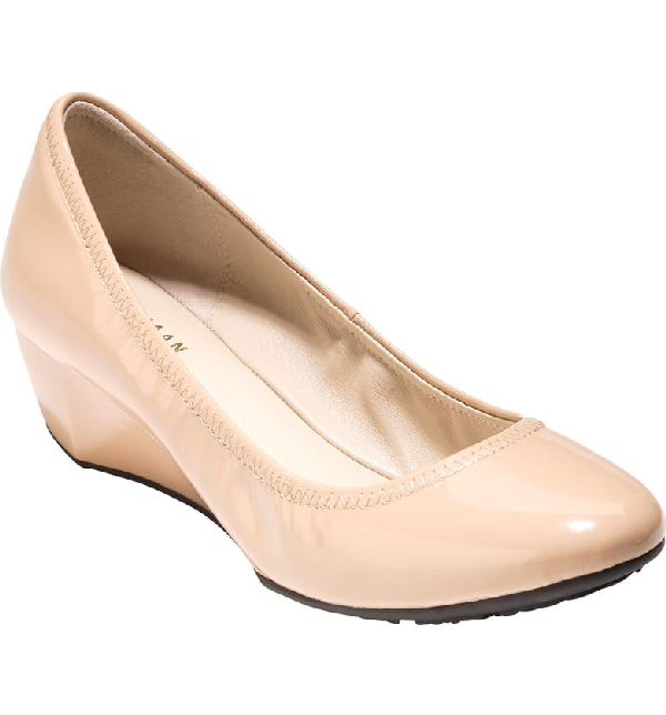 d103fd8de1 Cole Haan Sadie Grand Patent Wedge Pump, Nude In Nude Patent Leather ...