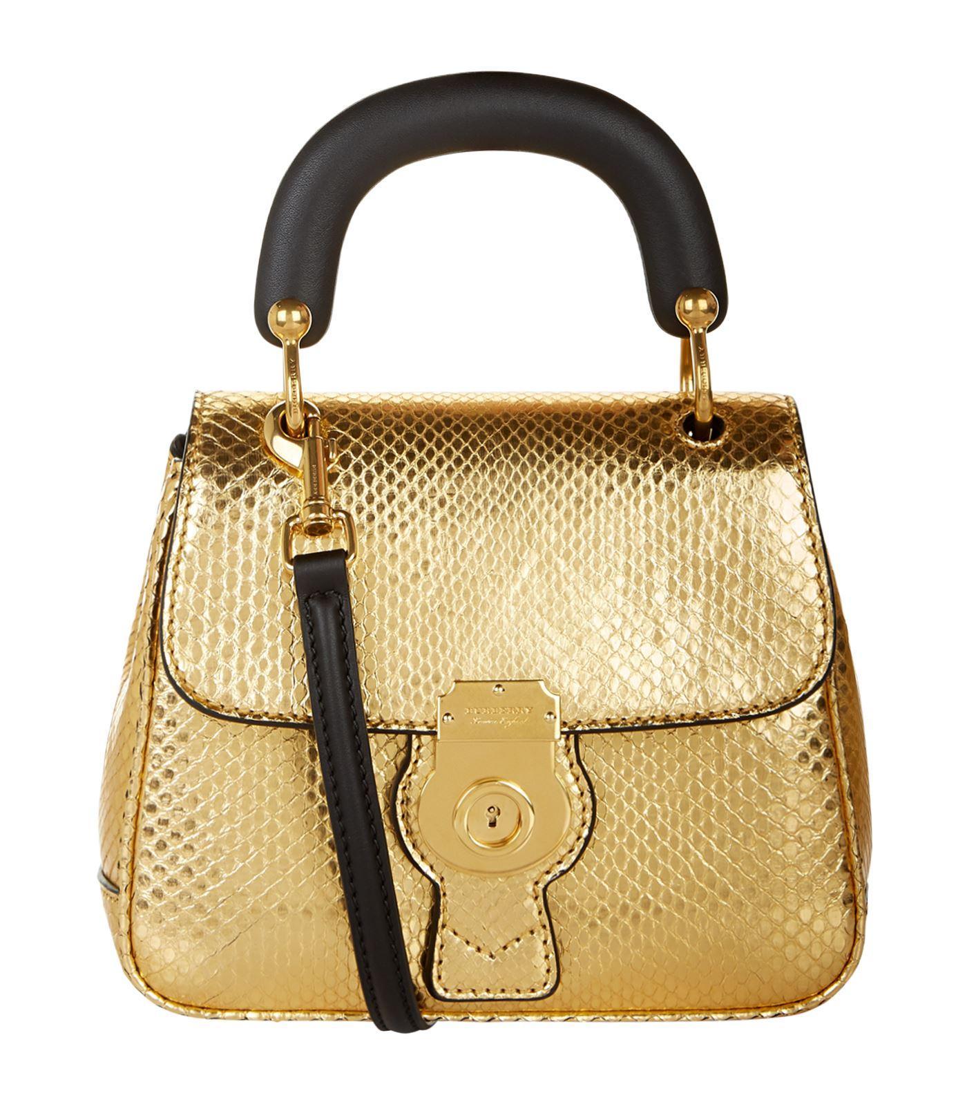 Burberry Small Dk88 Python Top Handle Bag, Yellow