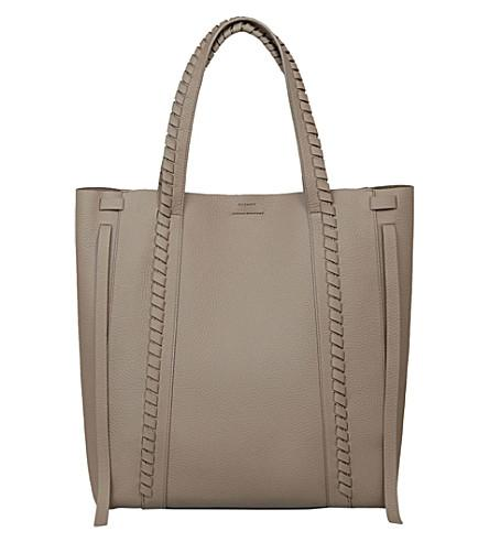 Allsaints Ray Leather Tote Bag In Black