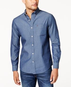 Tommy Hilfiger Men's Custom-fit Dean Dobby Chambray Shirt In Dark Chambray