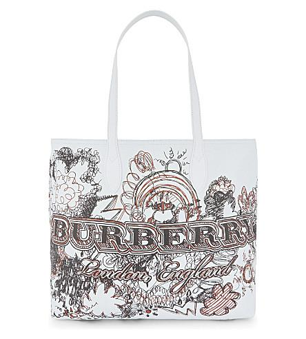 Burberry Sketchbook Leather Tote In White