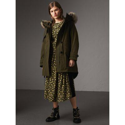 Burberry Raccoon Fur And Shearling Trim Parka With Warmer In Dark Olive