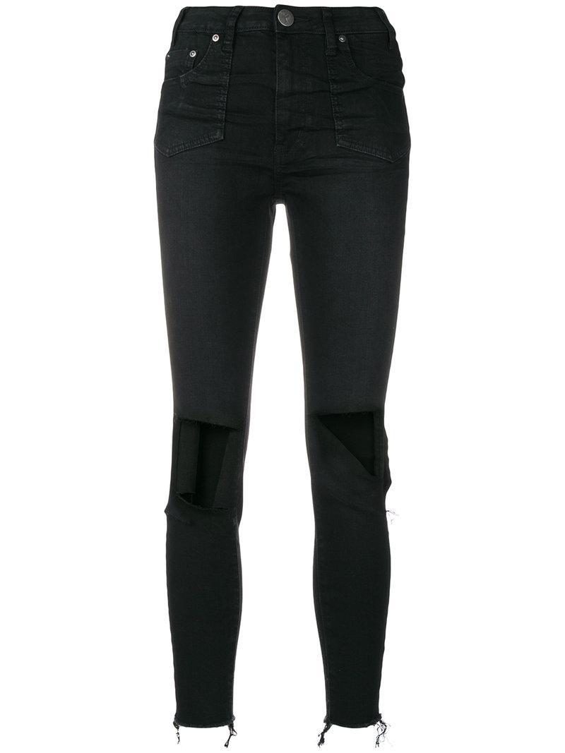 One Teaspoon Distressed Skinny Jeans In Black