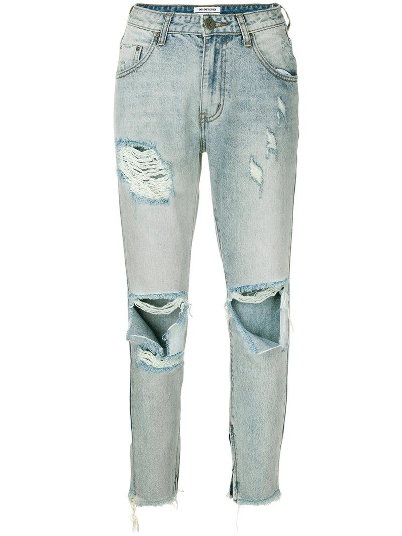 One Teaspoon Distressed High-rise Jeans
