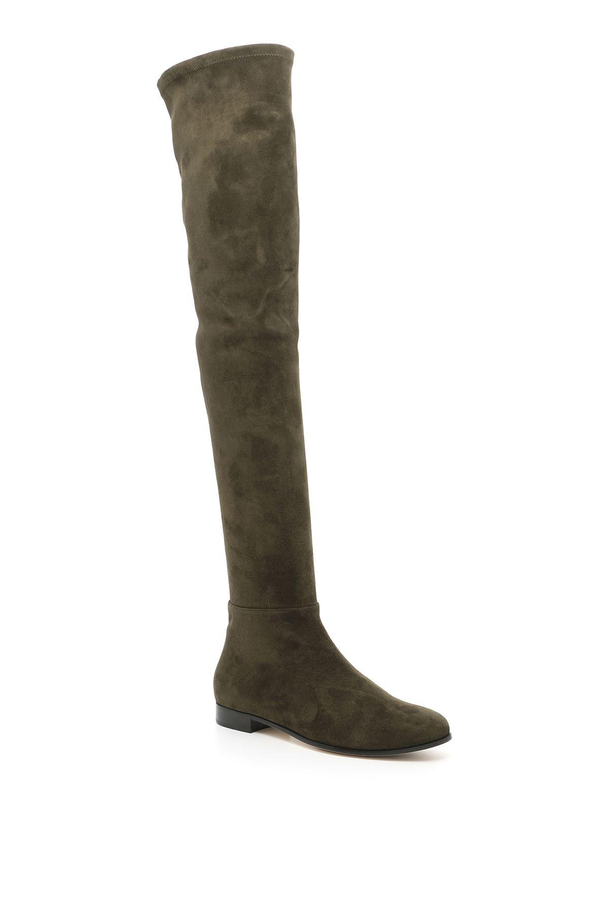 Jimmy Choo Stretch Suede Boots In Army Greenverde