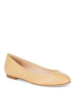 Sergio Rossi Round Toe Leather Ballet Flats In Beige