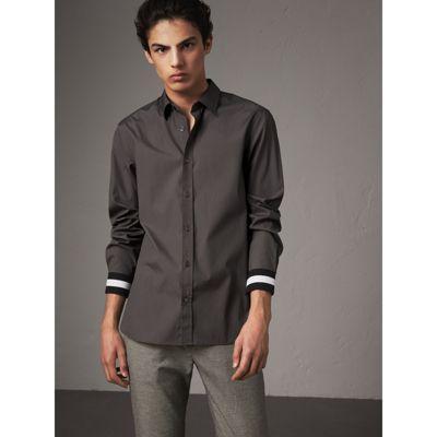 Burberry Striped Cuff Stretch Cotton Shirt In Stone Grey