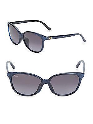 Gucci 57mm, Cat Eye Sunglasses In Glitter Blue