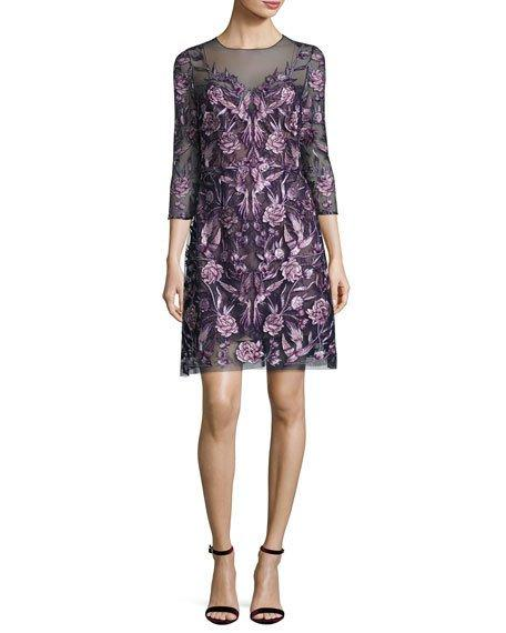 Marchesa Notte 3/4-sleeve Embroidered Floral Mesh Cocktail Dress, Navy/purple