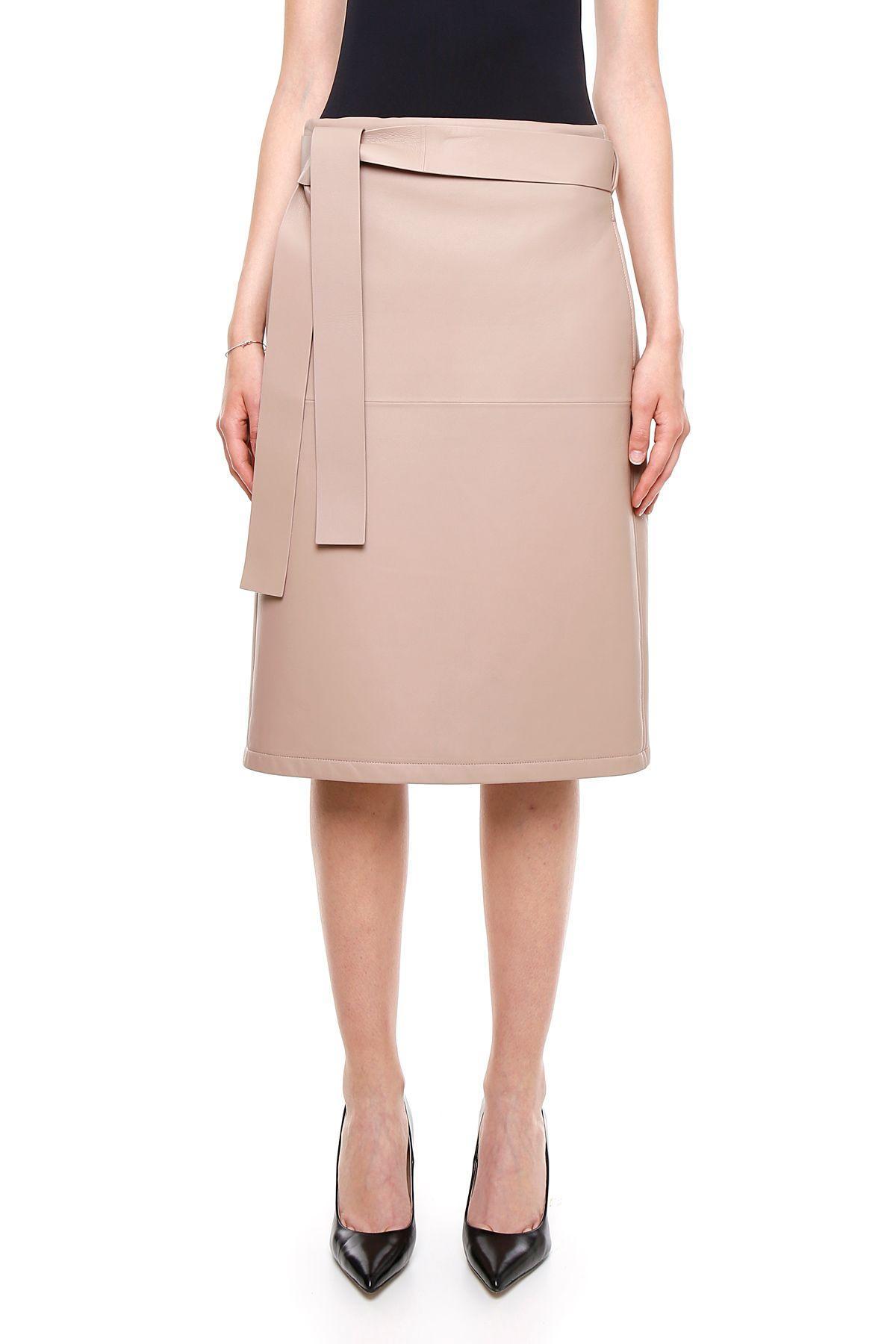 Bottega Veneta Lambskin Skirt In Mink Hazebianco