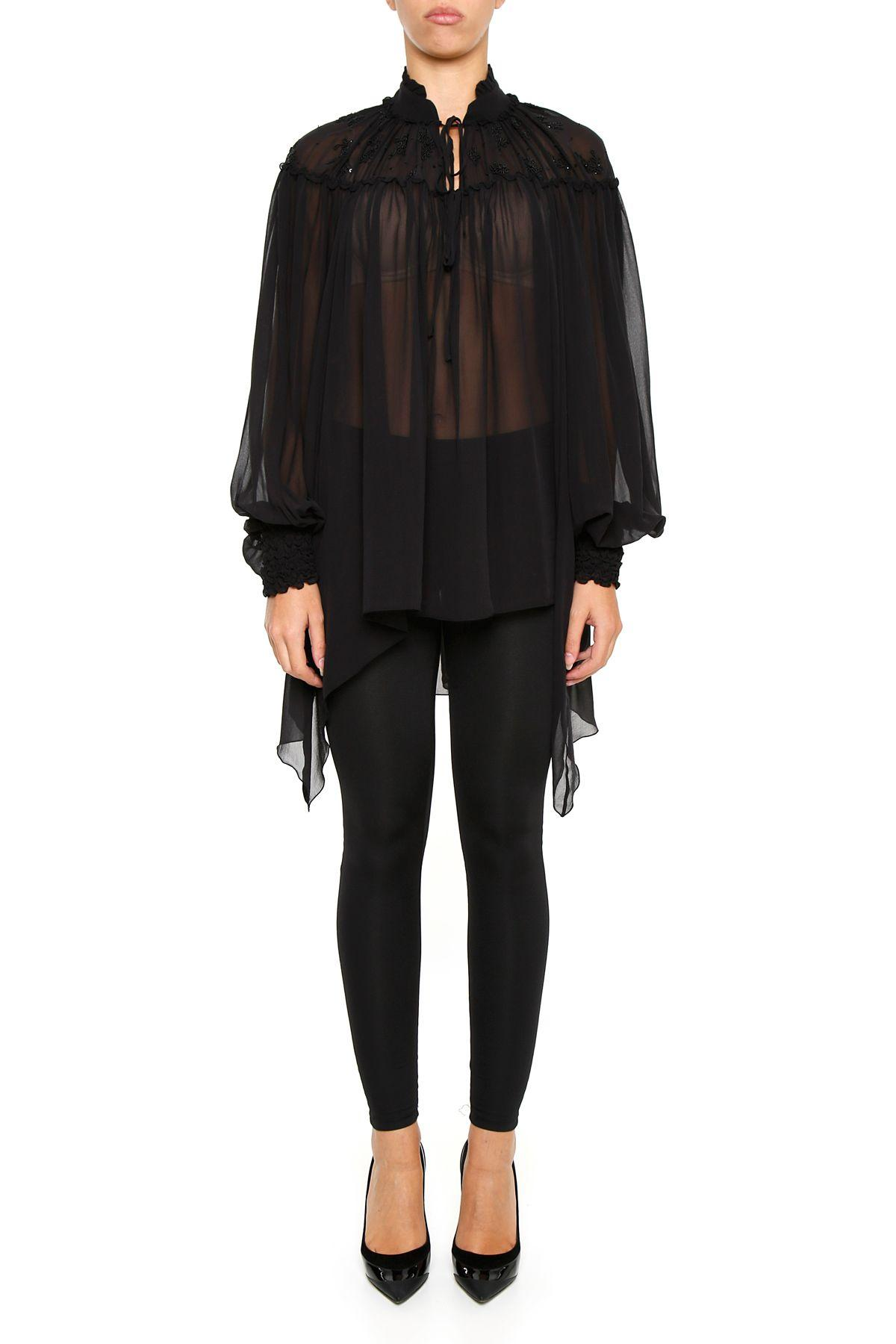 Amen Georgette Blouse With Embroidery In Blacknero