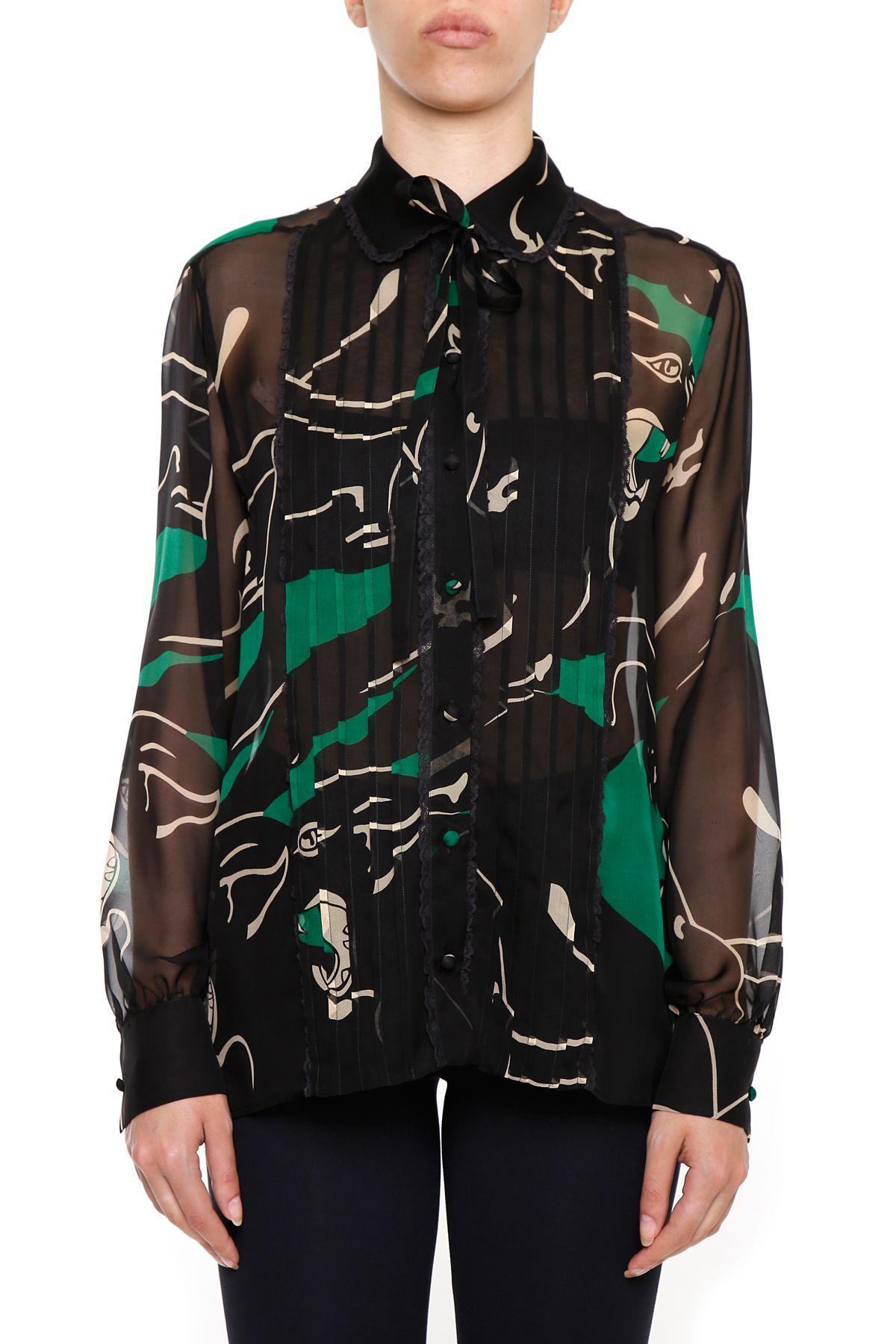 Valentino Panther Print Shirt In Verde Nero|verde