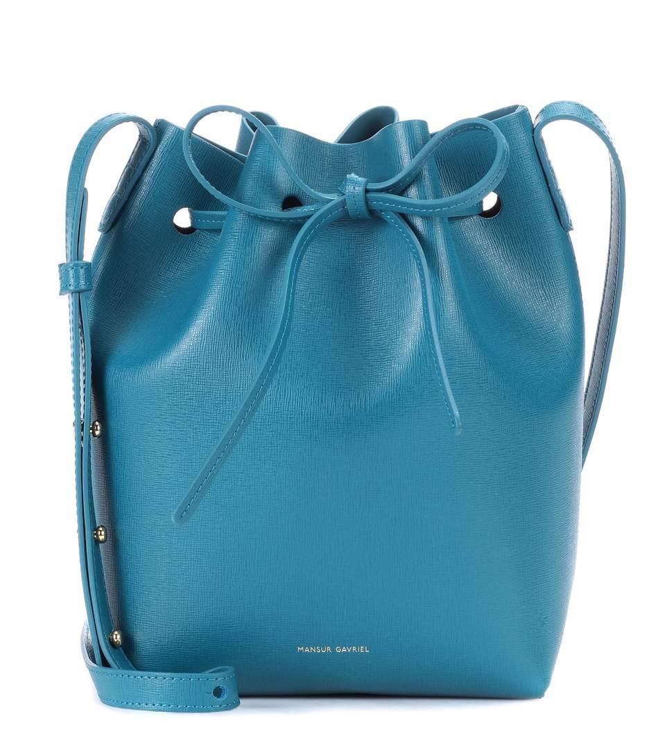 Mansur Gavriel Mini Leather Bucket Bag In Blue