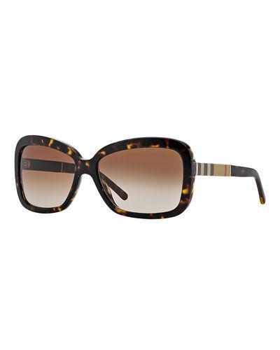 Burberry London Rectangle Sunglasses In Havana