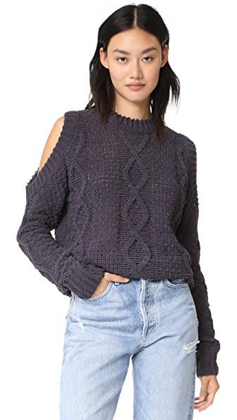 J.o.a. Cable Cold Shoulder Sweater In Charcoal