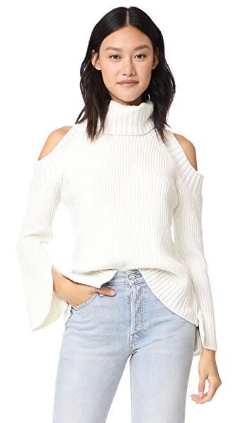 J.o.a. Cold Shoulder Turtleneck Sweater In Cream