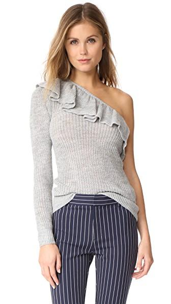 Rebecca Taylor Ruffle Pullover Sweater In Grey Melange