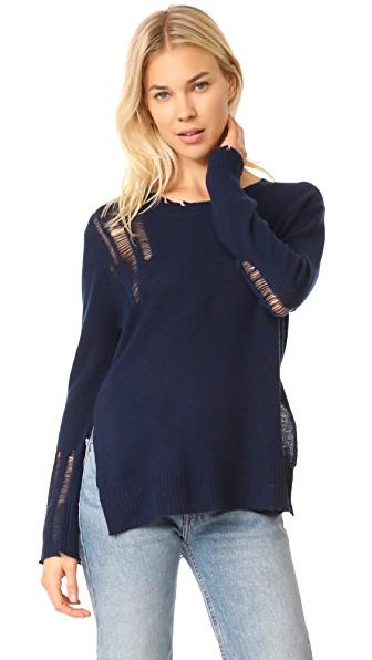 Enza Costa Drop Needle Side Slit Pullover In Ink