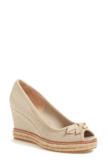 d6e102d154d Jackie Metallic Wedge Peep Toe Pumps in Ivory Canvas/ Grosgrain