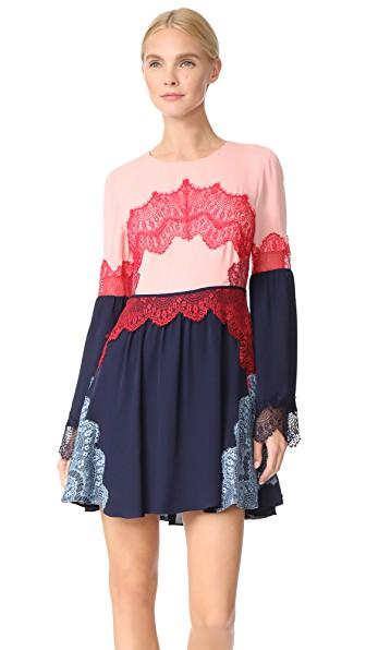 Tanya Taylor Lace Applique Cyra Dress In Blush/navy
