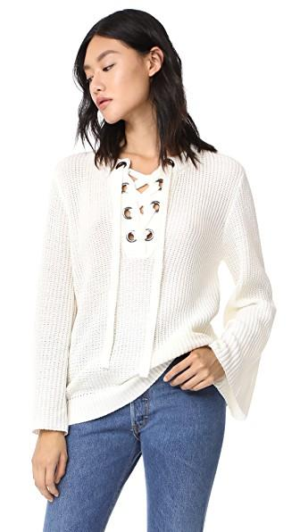 J.o.a. Lace Up Belle Sweater In Cream