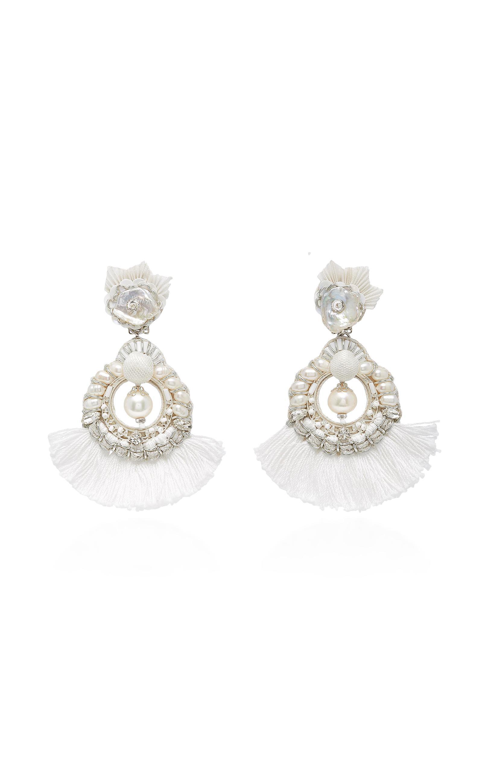 Ranjana Khan White And Blue Pearl Chandelier Earring
