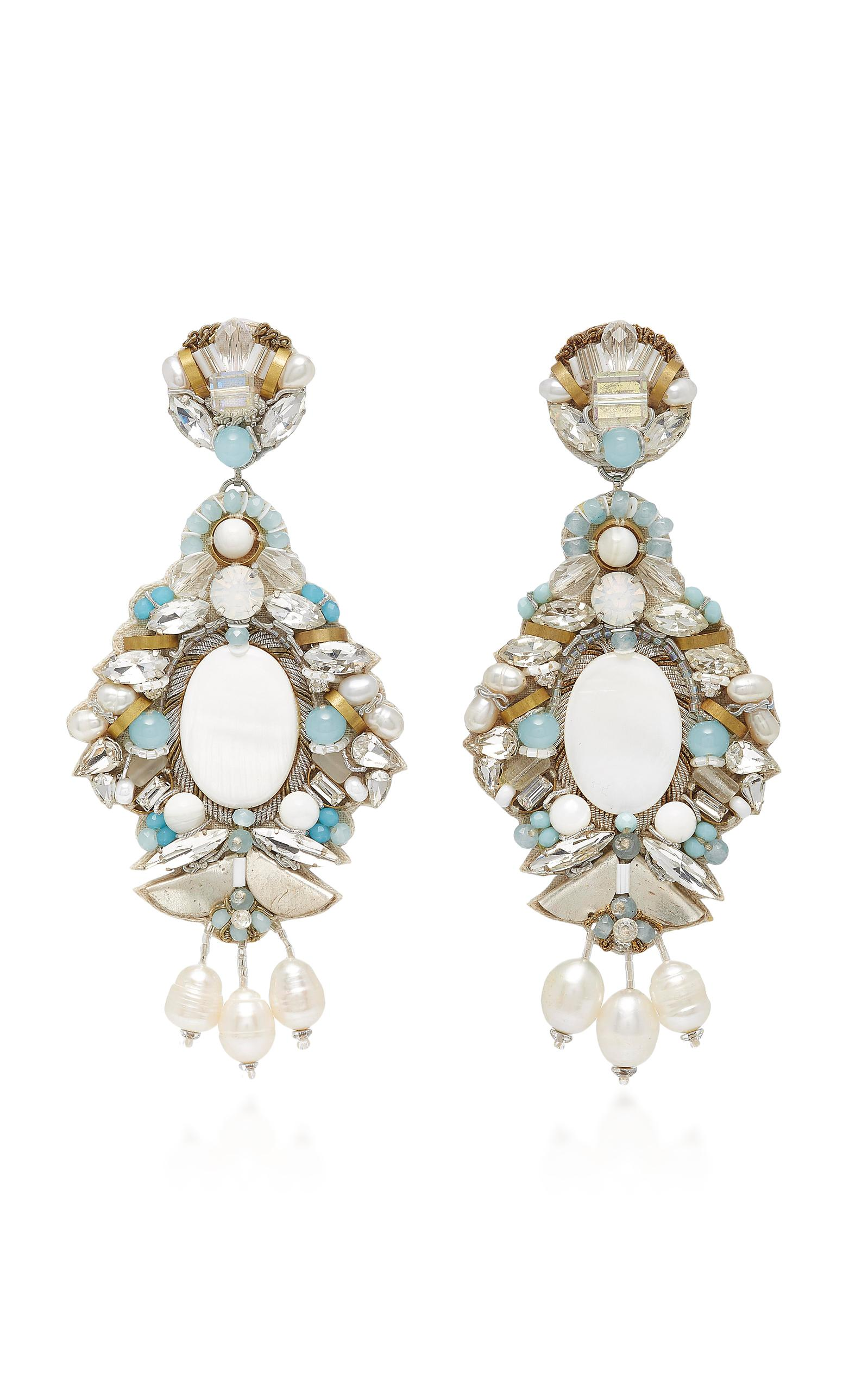 Ranjana Khan M'o Exclusive White Fringe And Mother Of Pearl Hoop Drop Earring