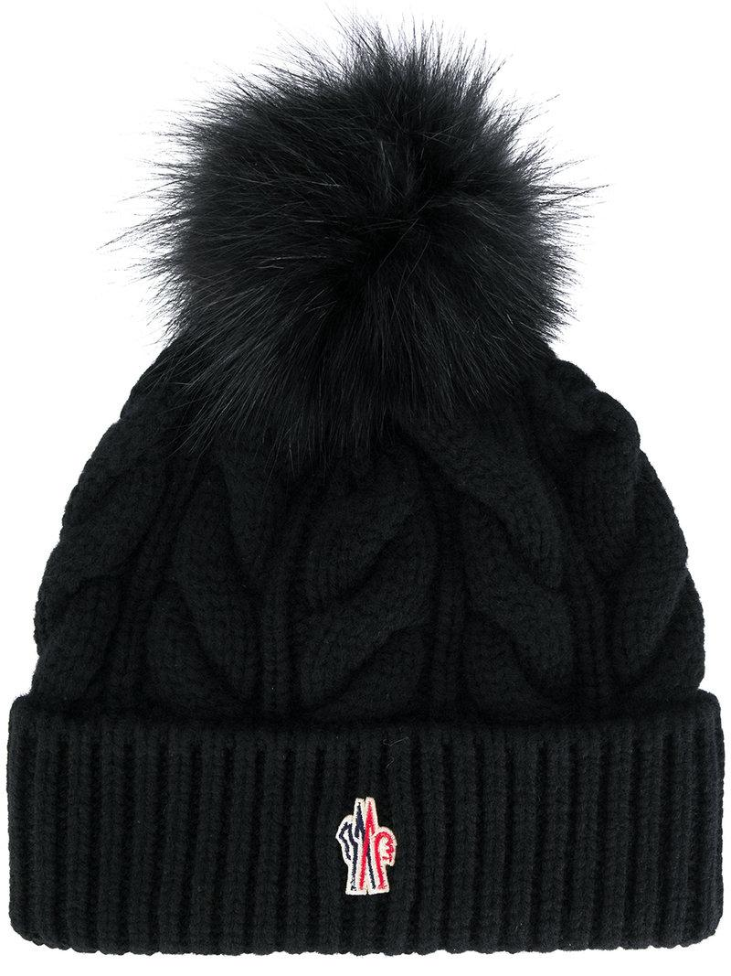 8d177176c86fe Moncler Grenoble Black Cashmere   Fur Pom Pom Beanie
