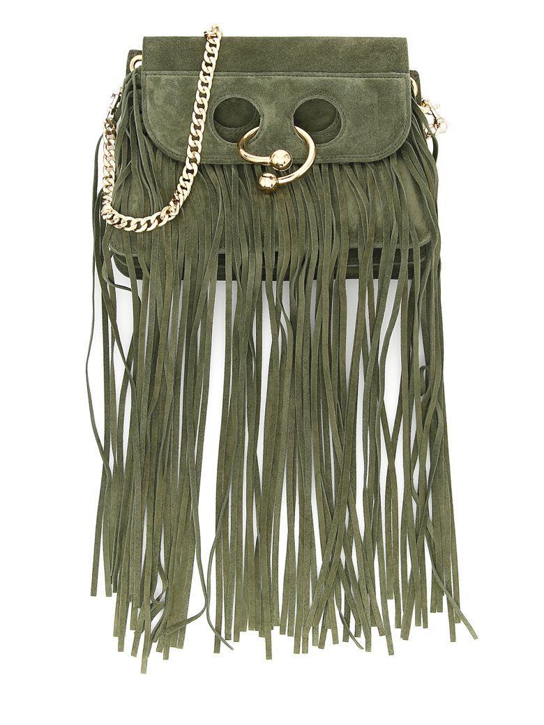 Jw Anderson Fringe Mini Pierce Bag In Olive|verde