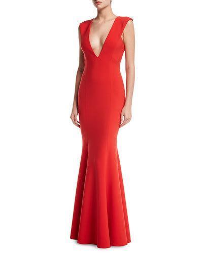 Jay Godfrey Victoria Sleeveless Deep V-neck Mermaid Evening Gown In Tomato