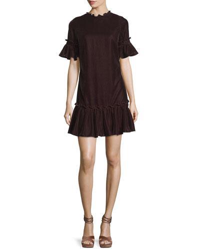 Shoshanna Annadale Short Bell-sleeve Velvet Dress In Bordeaux