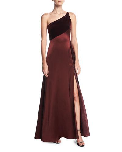 Jill Jill Stuart One-shoulder Sleeveless Silk-velvet Slip Evening Gown In Rasin