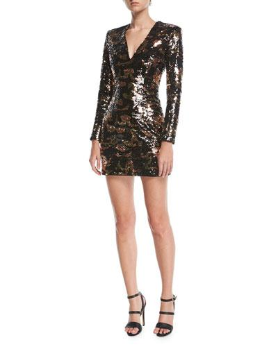 Balmain V-neck Long-sleeve Crocodile-pattern Sequined Mini Dress In Brown