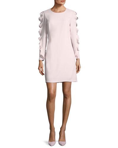 Club Monaco Clayre Jewel-neck Long-sleeve Sheath Dress W/ Ruffled Trim In Pink