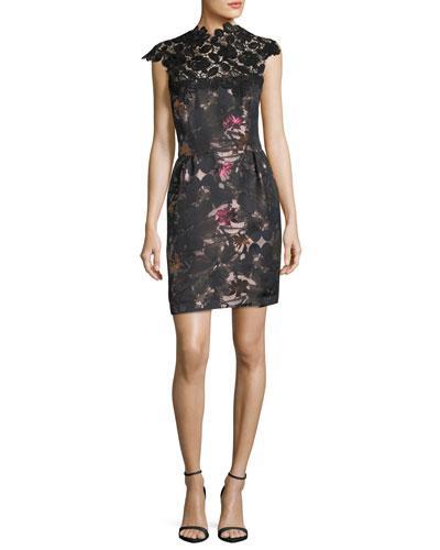 Trina Turk Floral-print Sheath Cocktail Dress W/ Lace In Multi
