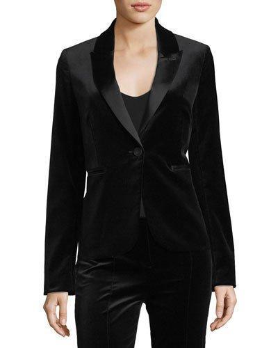 Diane Von Furstenberg Single-button Velvet Blazer In Black