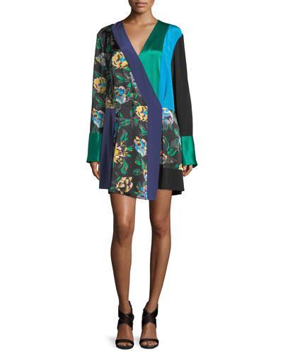 Diane Von Furstenberg Long-sleeve Colorblocked Crossover Silk Dress In Benton Bl/evergreen/cerulean