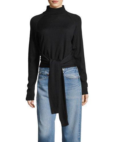 Kendall + Kylie Tie-front Long-sleeve Turtleneck Sweater In Black