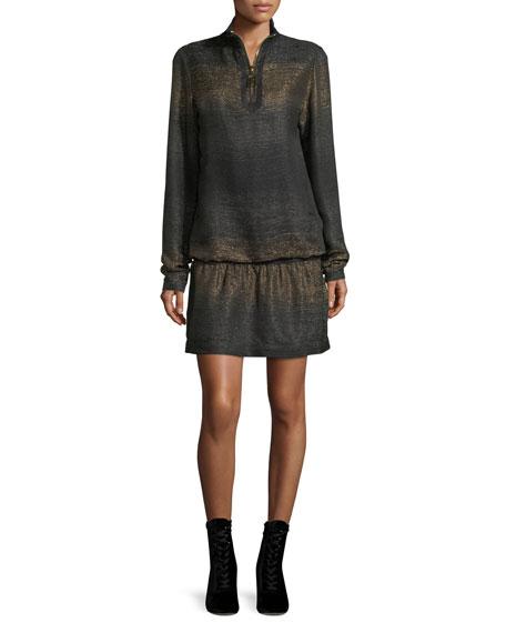 Marc Jacobs Metallic Knit Half-zip Mini Dress In Gold