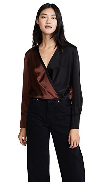 Diane Von Furstenberg Black Brown Silk Collared Cross Over Blouse In Chestnut/black