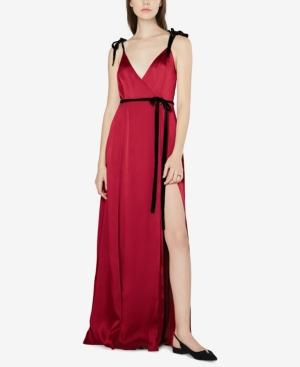 Fame And Partners Open-back Wrap Dress In Burgundy